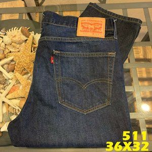 LEVIS 511 SLIM FIT MENS 36X32 DARK WASH DENIM
